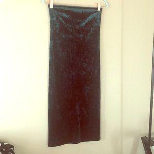 Dark Green Body-con Strapless Dress
